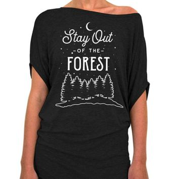 Stay Out of The Forest Slouchy Tee - Off The Shoulder Slouchy T-shirt
