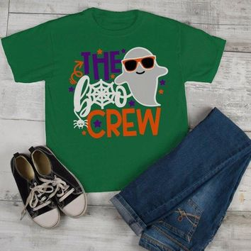 Kids Funny Halloween T Shirt Boo Crew Graphic Tee Matching Halloween Shirts Ghost