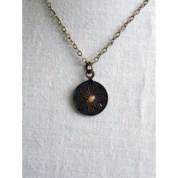 Mustard Seed of Faith...Antique Oxidized Brass Mustard Seed Round Necklace