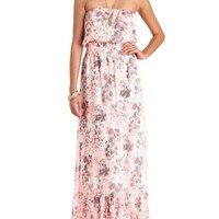 Neon Floral Print Strapless Maxi Dress - Pink Combo