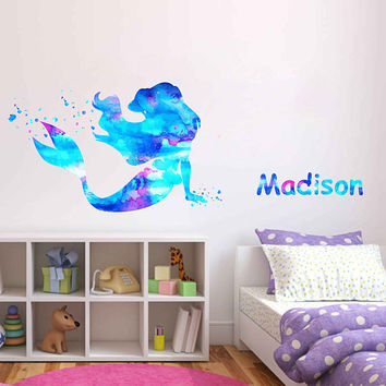 kcik1964 Full Color Wall decal Watercolor Character Disney The Little Mermaid Princess Ariel Sticker Disney Girl name Child's name