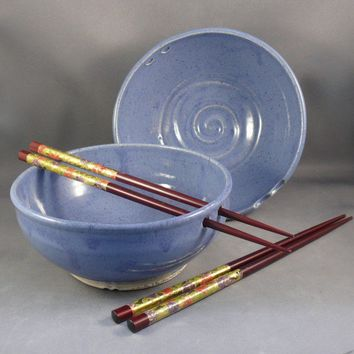 Two periwinkle rice bowls with chopsticks by dbabcock on Etsy