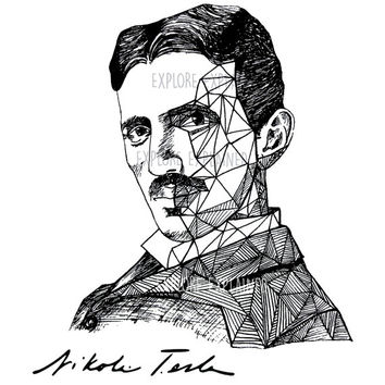 Tesla Art Print - Scientist Nikola Tesla Portrait Ink Drawing - Science Poster (Physics) - Wall Decor