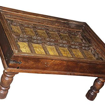 Mogul Interior Antique Arabic Calligraphy Indian Table Hand carved Unique Style Luxury Design Vintage Furniture Home Decor Coffee Table