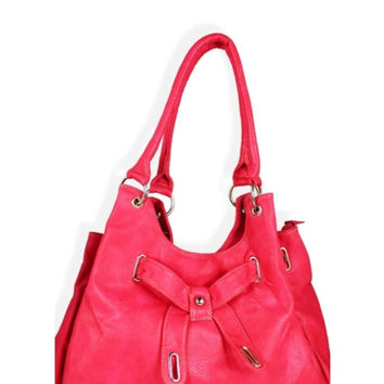 Fashionable Cross Bow Pink Large Shoulder Purse, Women's Accessories