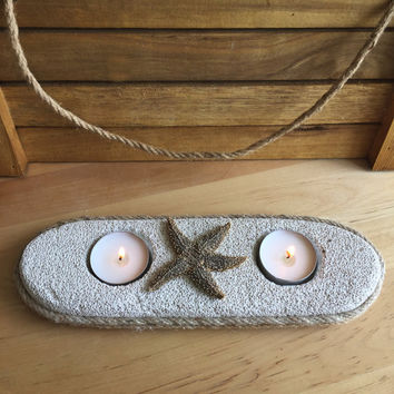 Natural Home Decor/ Starfish Candle Holder for 2 candles / Unique Tea Light Candle Holder/ Natural Pumice Stone Gift/ Starfish Decor