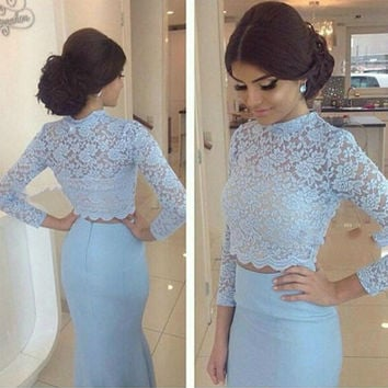 O Neckline Prom Dress,Light Blue Prom Dress,Long Evening Dresses