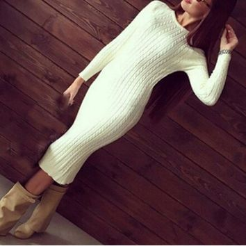 Women fashion Twisted Back Slit Sweater Dress Solid dames knitted pull Femme Long sleeve midi pullover Sweater Dresses