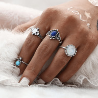 4pcs Mix SIZES Vintage Sliver Color Turkish Multicolor Punk Stone Midi Ring Sets for Women Finger Rings conjuntos de anillo JM0510