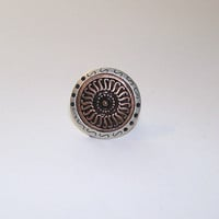 Ring, Antiqued Silver and Copper Ring, Sunburst design, metal bead ring, adjustable ring, upcycled, recycled pendant ring