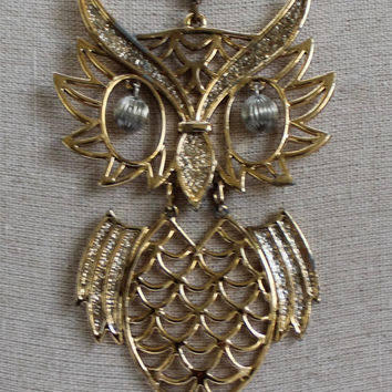 Vintage 1970's Owl Necklace Large Owl Pendant Necklace