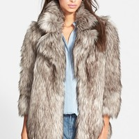 Women's Betsey Johnson Faux Fur Topper ,
