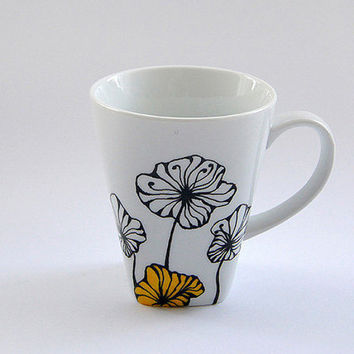Mug with Minimalist Flowery Design. Coffee Tea Mug, Mother's Day Gift, Unique Hand Painted Design.
