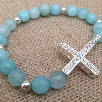 Aquamarine Agate Beaded Bracelet, Cross Agate Bracelet, Aquamarine Bracelet, Stretch Bracelet, Rhinestone Cross, Sterling Silver Accents