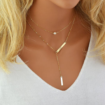 Choker Pearl Necklace, Gold Y Necklace, Layered Necklace Gold or Silver, Personalized Lariat Necklace, Delicate Y Necklace, Gift for Woman