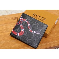 GUCCI 2018 new men and women animal pattern short card package F-WMXB-PFSH Black Bee