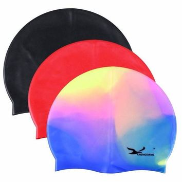 VONE05L Waterproof Flexible Silicone swimming cap ear protect Long Hair Protection Swim Caps Hat Cover For Adult Children Kids
