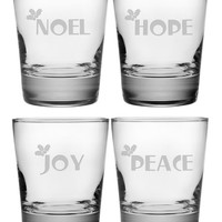 Noel, Hope, Joy, Peace Double Old Fashioned Glasses ~ Set of 4