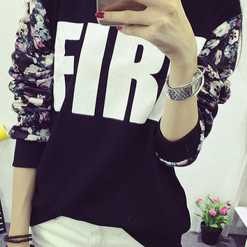 Long Sleeve Letter and Flower Printed Stitching Fleece T-Shirt