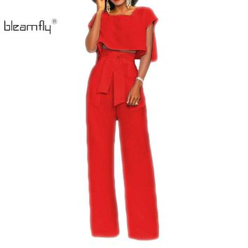 Summer Rompers Womens Jumpsuit 2018 Women Sexy Jumpsuits Clubwear Party Elegant Wide Leg Pant Body Femme 2 Piece Set Overalls