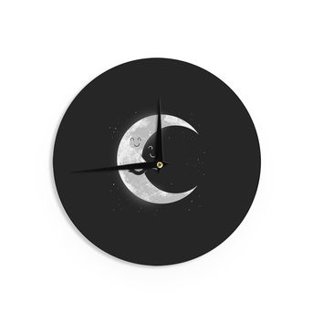 "Digital Carbine ""Moon Hug"" Black White Wall Clock"