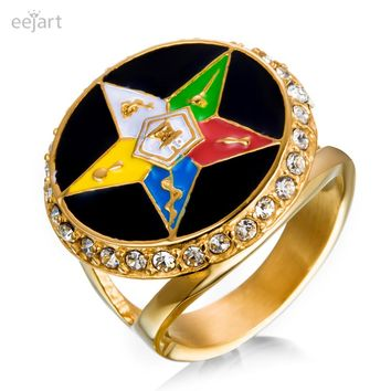 eejart New brand stainless steel  ring for men gold plating Masonic jewelry order of eastern star ring