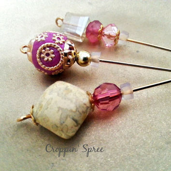 Beaded Hijab Pins or Hat Pins in Hot Pink and Gold for Scrapbooking, Cards, Art & Clothing.Ships Worldwide. Hijab Fashion