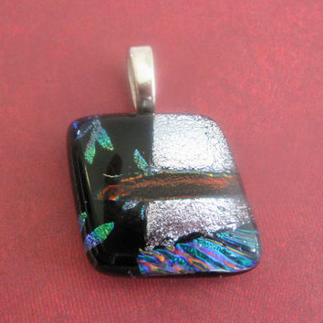 Dichroic Fused Glass Pendant, Fused Glass Jewelry, Glass Slide, Large Silver Bail - Bon Voyage  by mysassyglass