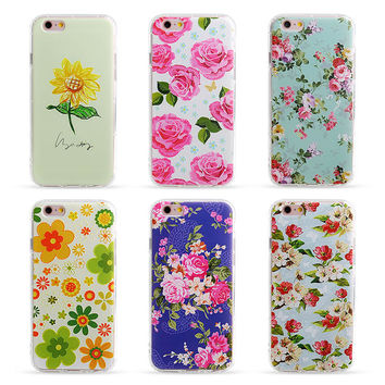 TPU Phone case for iphone 6 6s 5 5s SE 6plus 3D Painted Relief Case Flower Pattern Fashion Anti-Knock Airbag phone Back Cover