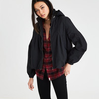 AE FEMININE PINTUCK WINDBREAKER, Black