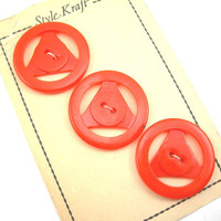 "3 Orange Plastic Buttons on Card, Vintage Buttons, 1940-50s, 1-1/8"" Button, Style Kraft"