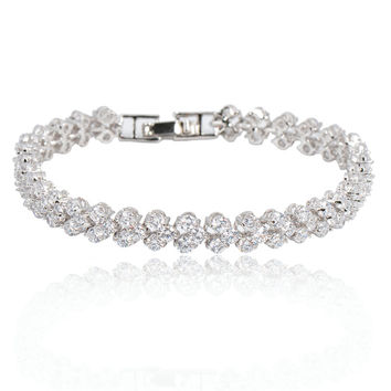 Crystal Fashion Jewelry Charm Women Bracelets 14KT White Gold Filled Wedding Engagement Bracelets For Women Bague Femme BR0349