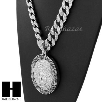 ESBONRC Hip Hop White Gold Plated Medusa medallion Pendant 30' Iced Out Cuban Link Chain