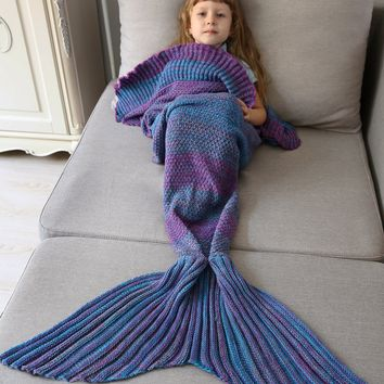Bedroom Ombre Crochet Knit Mermaid Blanket Throw For Kids