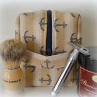 Father's Day- Mens Gift- Beige and Navy Anchor Toiletry Bag, Shaving Kit Bag- Extra large