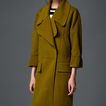 High-end double-sided cashmere coat-Woman coat-wool poncho-Double breasted coat-Women fashion- Army green wool coat ,R2488