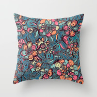 Sweet Spring Floral - melon pink, butterscotch & teal Throw Pillow by Micklyn
