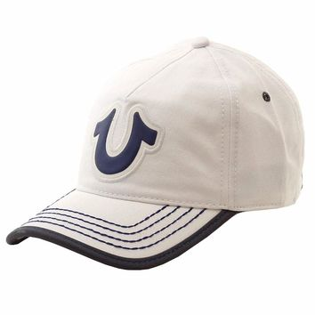 True Religion Mens Horseshoe Logo Adjustable Baseball Hat (One Size Fits Most)