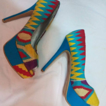 Hand weaved kente design shoes