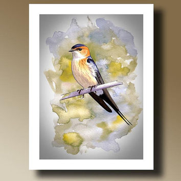 Print of Bird Watercolor Painting Wall hanging Decorative Art Home Decor 14001