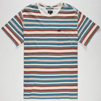 Rvca Hairy Stripe Mens Pocket Tee Red  In Sizes