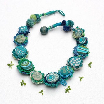 Blue green necklace, fiber crochet jewelry with fabric buttons, OOAK
