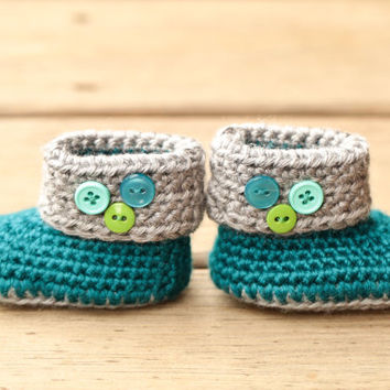 Crochet Baby Booties - Teal and Grey Baby Boots with Blue and Green Buttons - Newborn Booties