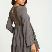 Olive Crochet Back Tiered Bell Dress - LoveCulture
