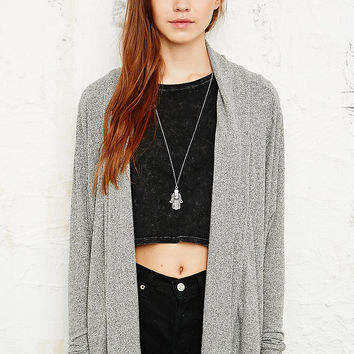 Ecote Drape Lapel Cardigan in Grey - Urban Outfitters