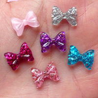 Tiny Bow Bowtie Cabochon Set with Glitter (6pcs) (12mm) Fake Miniature Cupcake Topper Earring Making Nail Art Decoration NAC039