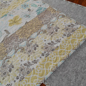 Modern Quilted Table Runner in Aqua Gray and Yellow