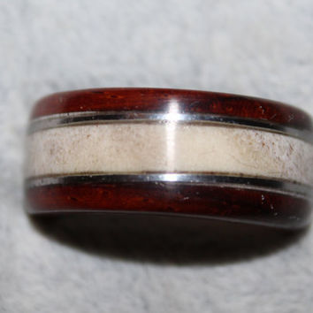 Wood Ring, Cocobla and Elk Antler with Silver Wire Inlay