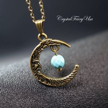 Crescent Moon Necklace - Tiny Turquosie Necklace - Retro Faceted Turquoise Children Necklace