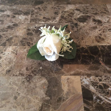 Ivory boutonnieres /silk flower/wedding / Ivory /groom boutineer/prom flowers